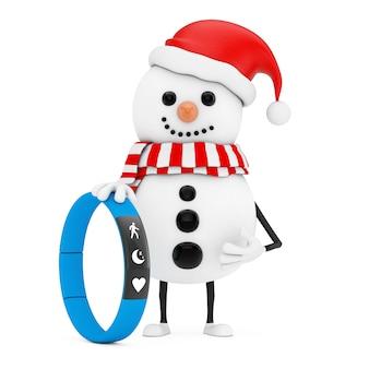 Boneco de neve na mascote do personagem de chapéu de papai noel com rastreador de aptidão azul sobre um fundo branco. renderização 3d