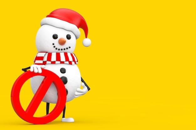 Boneco de neve no chapéu de papai noel mascote de personagem com proibição de vermelho ou sinal de proibido sobre um fundo amarelo. renderização 3d