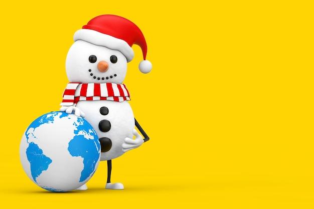 Boneco de neve no chapéu de papai noel mascote do personagem com globo terrestre em um fundo amarelo. renderização 3d