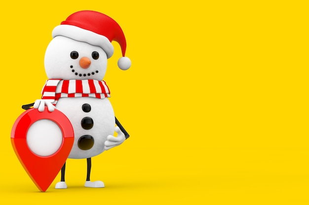 Boneco de neve no chapéu de papai noel mascote do personagem com o pino do ponteiro do mapa alvo em um fundo amarelo. renderização 3d