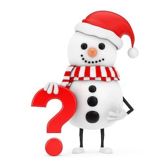 Boneco de neve no chapéu de papai noel mascote do personagem com o sinal vermelho do ponto de interrogação sobre um fundo branco. renderização 3d