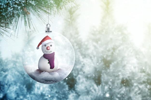 Boneco de neve no ornamento de bola de vidro pendurado na árvore do abeto