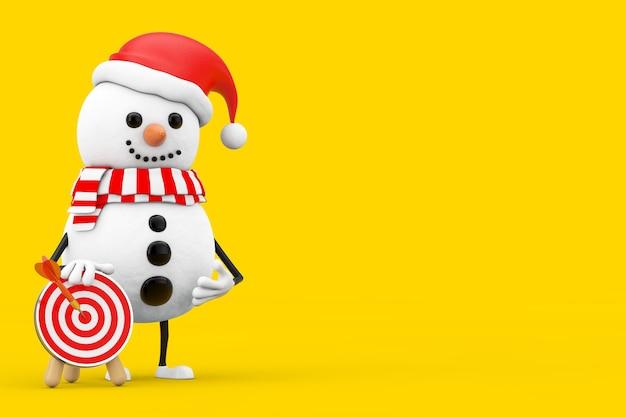 Boneco de neve no personagem de pessoa de chapéu de papai noel com alvo de tiro com arco com dardo no centro em um fundo amarelo. renderização 3d
