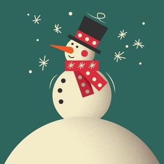 Boneco de neve. saudação do boneco de neve. lindo cartão de saudação de natal com boneco de neve. cartão com bonecos de neve e queda de neve. conteúdo de natal.