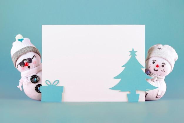 Bonecos de neve de tecido de natal em azul
