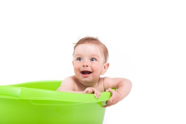 Bonito, bonito, menino bebê, tome banho, em, banheira