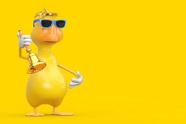 Bonito desenho amarelo pato pessoa personagem mascote com vintage golden school bell em um fundo amarelo. renderização 3d