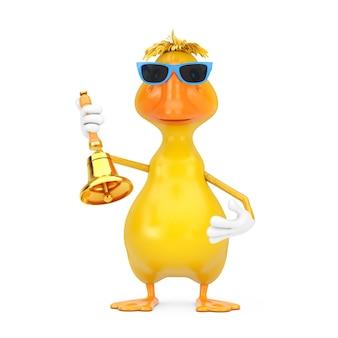 Bonito desenho amarelo pato pessoa personagem mascote com vintage golden school bell em um fundo branco. renderização 3d