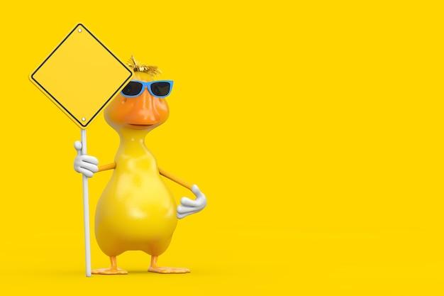 Bonito desenho amarelo pato pessoa personagem mascote e sinal de estrada amarelo com espaço livre para seu projeto em um fundo amarelo. renderização 3d