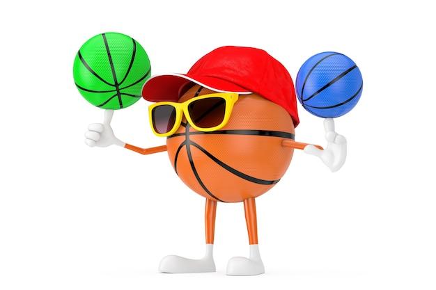 Bonito dos desenhos animados de brinquedo bola de basquete esportes mascote personagem personagem spining bolas de basquete coloridas sobre um fundo branco. renderização 3d