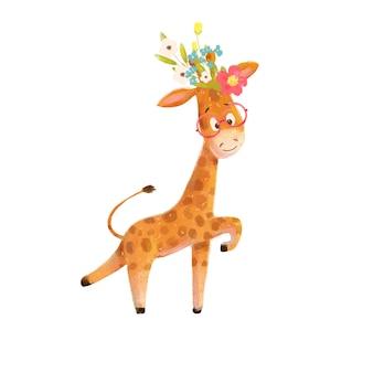 Bonito dos desenhos animados pequena girafa com uma coroa de flores e óculos