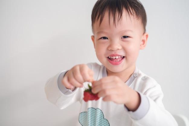 Bonito feliz sorridente pouco asiático 2 -3 anos de idade criança bebê menino criança usando as mãos comendo morango, lanches saudáveis e conceito de auto alimentação