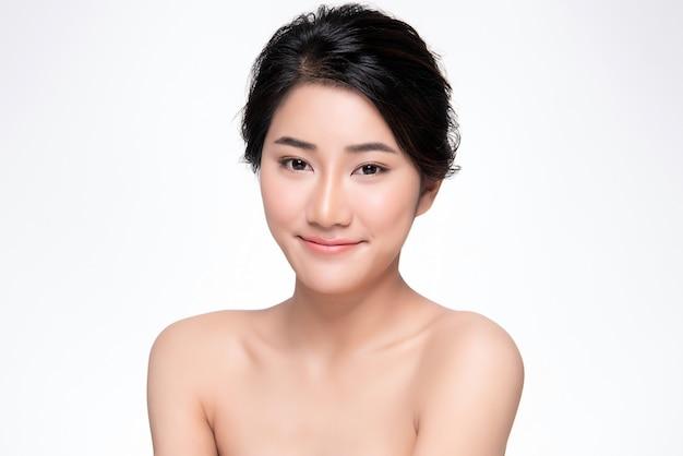 Bonito, jovem, mulher asian, com, limpo, pele fresca,