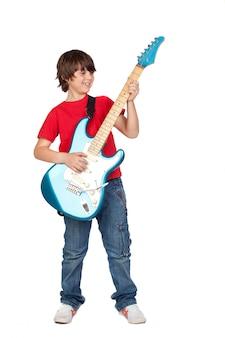 Bonito, menino, whit, violão elétrico, um, sobre, fundo branco
