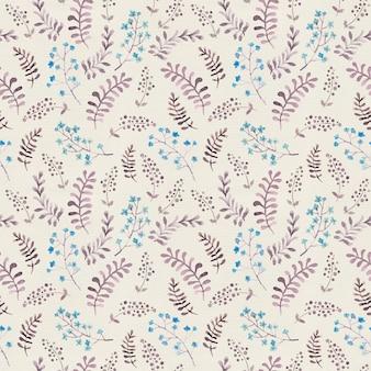 Bonito padrão de repetição com flores e folhas ingênuas. aguarela