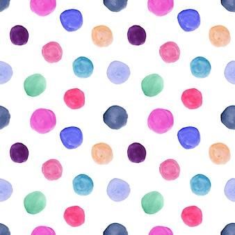 Bonito padrão sem emenda com círculos coloridos em aquarela desenhados à mão, ornamento de bolinhas para têxteis