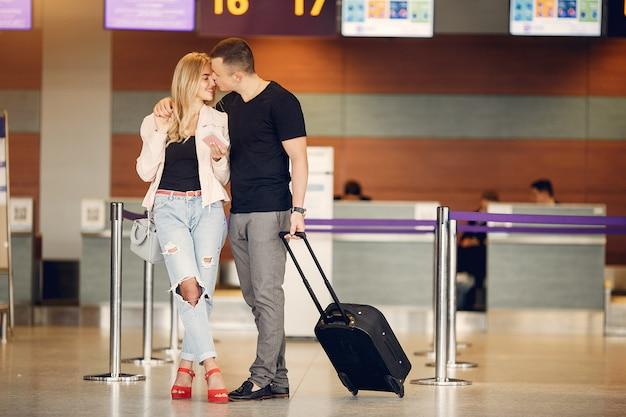 Bonito, par, ficar, em, aeroporto