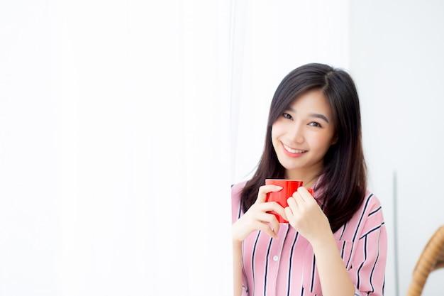 Bonito, retrato, mulher asian, com, bebida, um, xícara café