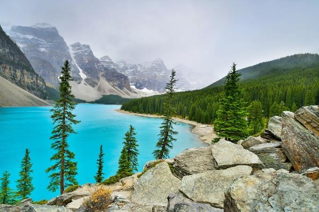 Bonito, turquesa, águas, de, moraine, lago, em, parque nacional banff, alberta, canadá