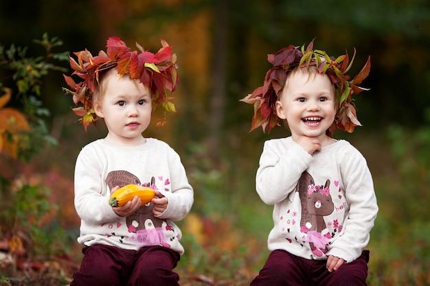 Bonitos meninas gêmeas brincando com medula vegetal no parque outono. atividades de outono para crianças. dia das bruxas e diversão de tempo de ação de graças para a família.