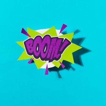 Boom em quadrinhos texto colorido estilo pop art efeito de som