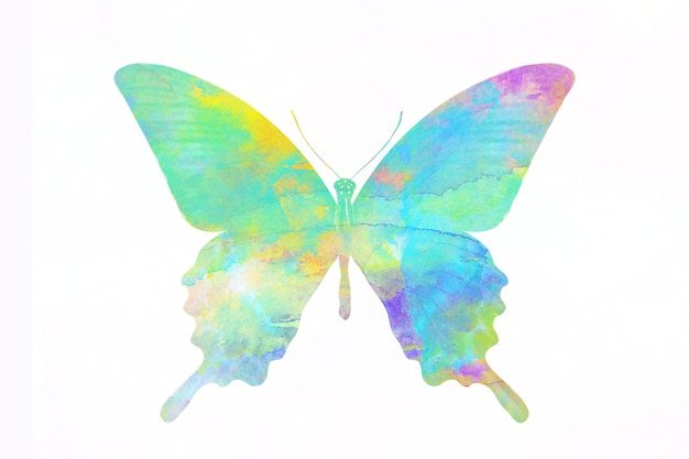 Borboleta aquarela multicolor. inseto tropical para design. isolado em fundo branco