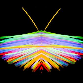 Borboleta colorida feita de luz neon