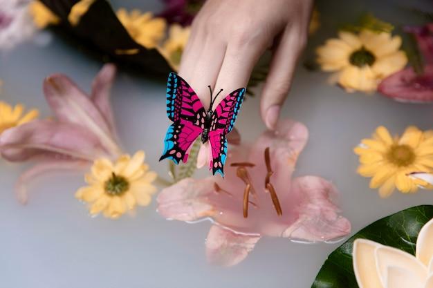 Borboleta de close-up e flores terapêuticas
