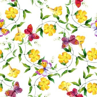 Borboleta e flor amarela. estampa floral sem emenda. aguarela