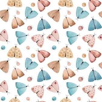 Borboleta em aquarela, padrão sem emenda de mariposas. fundo de mariposas à noite. têxtil, tecido estampado Foto Premium