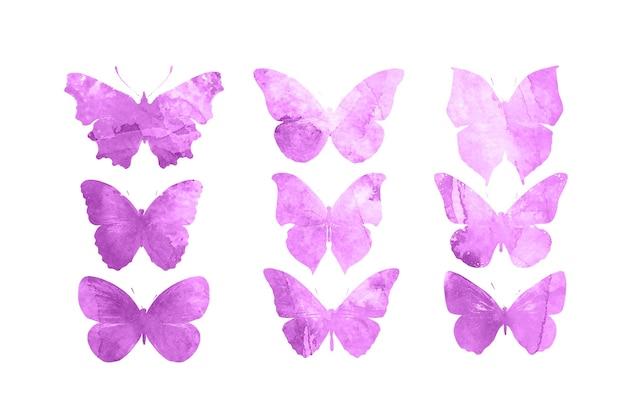 Borboletas cor de rosa isoladas no fundo branco. mariposas tropicais. insetos para design. tintas aquarela