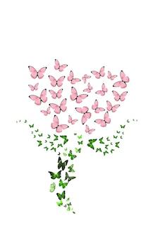 Borboletas voando em forma de uma flor. rosa vermelha. isolado em um fundo branco. mariposas. foto de alta qualidade