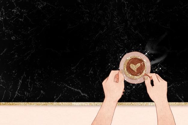Borda da arte do café com leite coração em fundo de textura de mármore preto brilhante