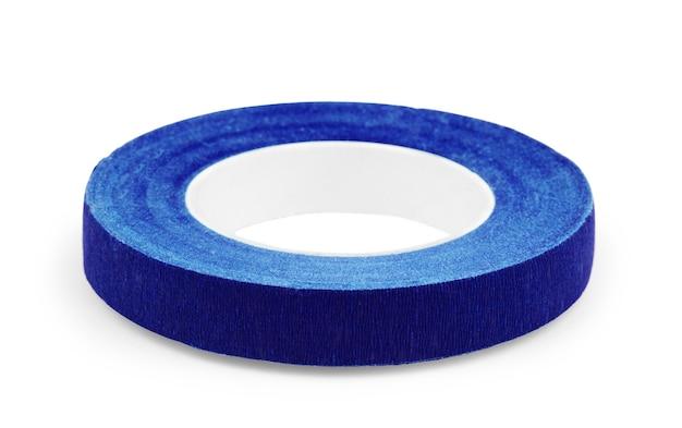 Borda da fita azul isolada no fundo branco