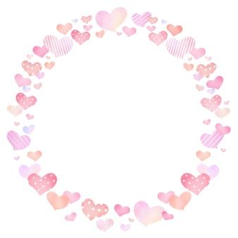 Borda da moldura do cartão circular com desenho de coração desenhado à mão