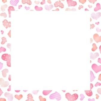 Borda da moldura do cartão com desenho de coração desenhado à mão