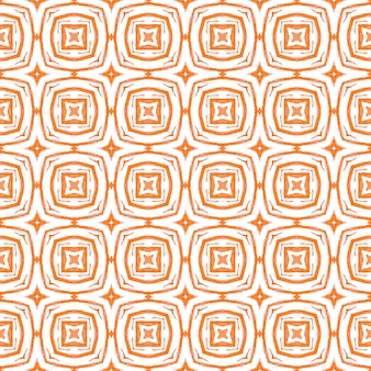 Borda de aquarela chevron geométrica verde. design de verão chique de boho incomum laranja. padrão em aquarela de divisa. impressão positiva têxtil pronta, tecido de biquíni, papel de parede, embrulho.
