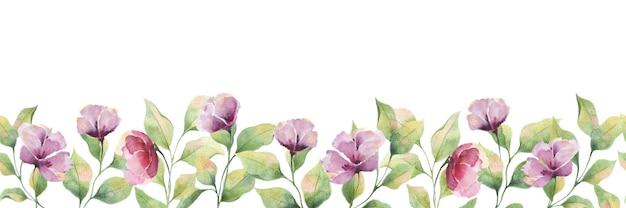 Borda de aquarela perfeita com flores roxas grandes e folhas em um fundo branco, ilustração de flores de verão para cartões postais, decoração de casamento, embalagem