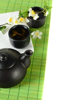Borda de chá - bule, xícara, folhas, fundo verde