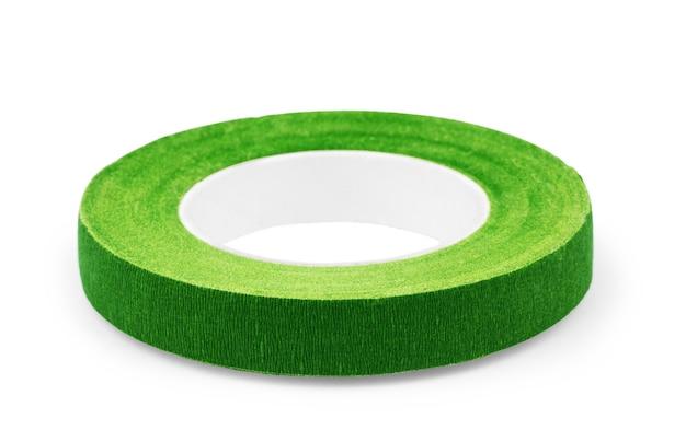 Borda de fita verde isolada em fundo branco