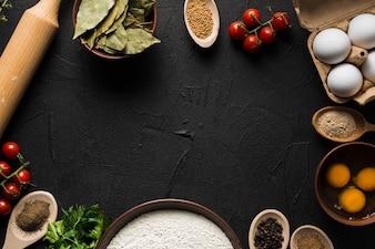 Borda de ingredientes para cozinhar
