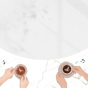 Borda de mármore romântica dos namorados com café branco e sombra de fundo