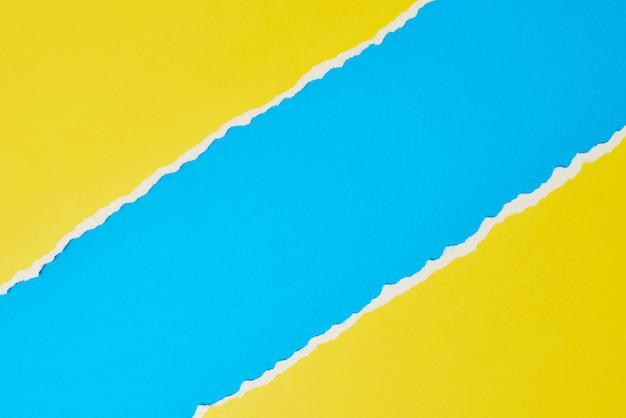 Borda de papel rasgado rasgado, amarelo e azul