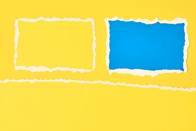 Borda de papel rasgado rasgado em azul e amarelo