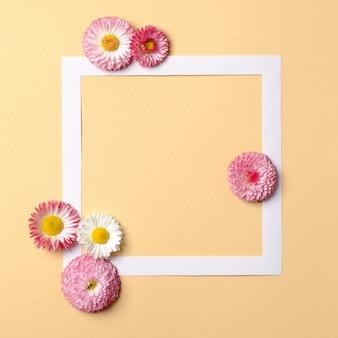 Borda de quadro com margarida flores sobre fundo amarelo pastel.