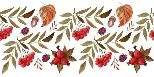 Borda em aquarela com elementos temáticos de outono e personagens fofinhos