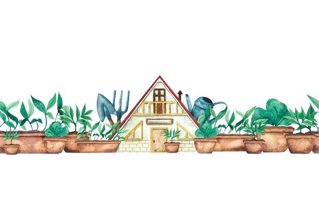 Borda em aquarela com uma casa de verão, mudas de vegetação em vasos e ferramentas de jardim regador, pá e ancinho de jardim