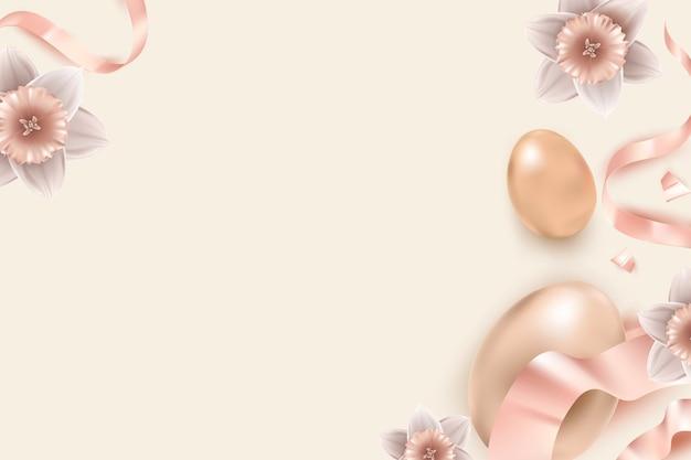 Borda floral de ovos de páscoa em ouro rosa 3d e fitas em fundo bege para cartão de felicitações