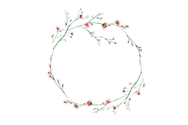 Borda floral desenhados à mão, quadro em aquarela floral círculo bonito.