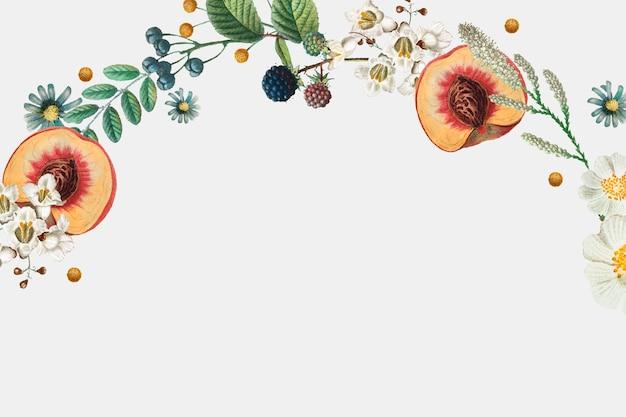 Borda lateral de verão floral vintage desenhada à mão